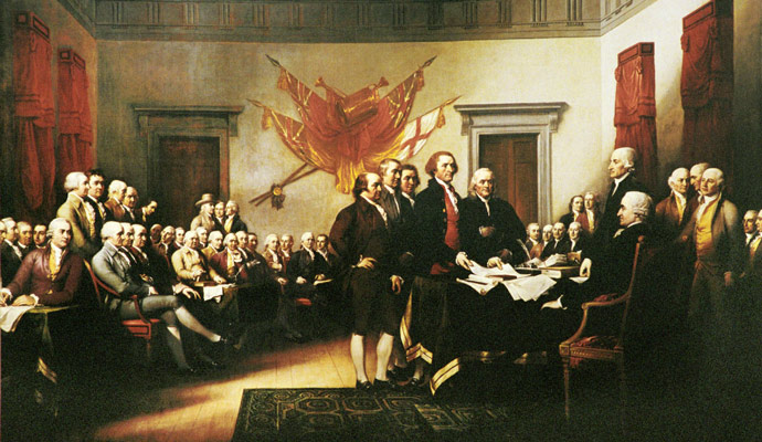 Presenting the Declaration of Independence to the Continental Congress.