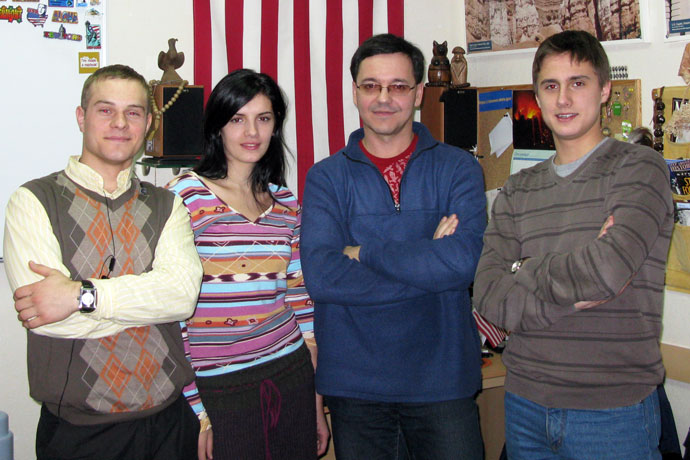At Terra Nova. From left to right: Andrei Tanase, Larisa Moroz, Andrei Fiodorov (the TOEFL instructor), Evghenii Kosatîi. TOEFL Preparation / Section 5 (Tu.Th. Evening Group). December 2009.