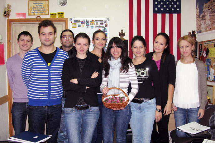 At Terra Nova. Eating wafer strawberries made by Veronica Cebanu. From left to right: Victor Marcauţan, Mihai Batog, Dmitri Buiniţki, Lilia Tugulea, Iulia Misiura, Veronica Cebanu, Nadejda Foltea, Marina Coroi, and Natalia Iuraş. TOEFL Preparation / Section 4 (Tu.Th. Evening Group). December 2012.