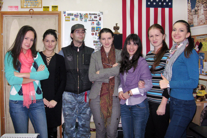 At Terra Nova. From left to right: Marina Coroi, Nadejda Foltea, Dmitri Buiniţki, Lilia Tugulea, Veronica Cebanu, Marina Repeah, and Iulia Misiura. TOEFL Preparation / Section 4 (Tu.Th. Evening Group). December 2012.