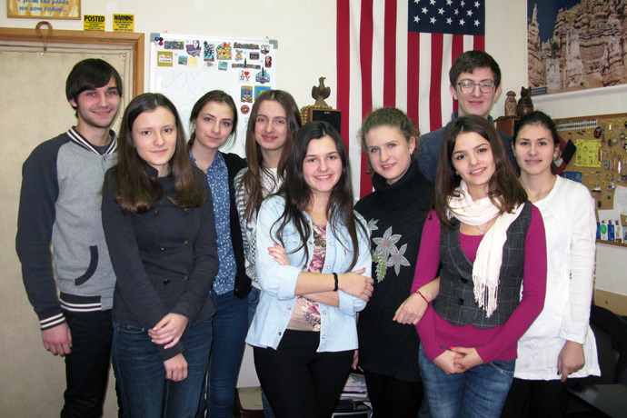 At Terra Nova. From left to right: Tudor Haruţa, Daniela Olărescu, Laura-Victoria Nazaria, Valeria Golub, Mariana Manole, Doina Rodideal, Ecaterina Burevschi, Andrei Frunze, and Cătălina Catana. TOEFL Preparation / Section 5 (Sat.Sun. Morning Group). December 2012.
