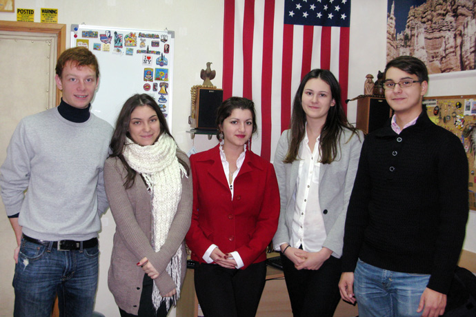 At Terra Nova. From left to right: Maxim Grama, Anastasia Avram, Maria-Mirabela Mocănaş, Nadejda Sapunov, and Sorin Lîsîi. TOEFL Preparation / Section 1 (M.W.F. Afternoon Group). December 2012.