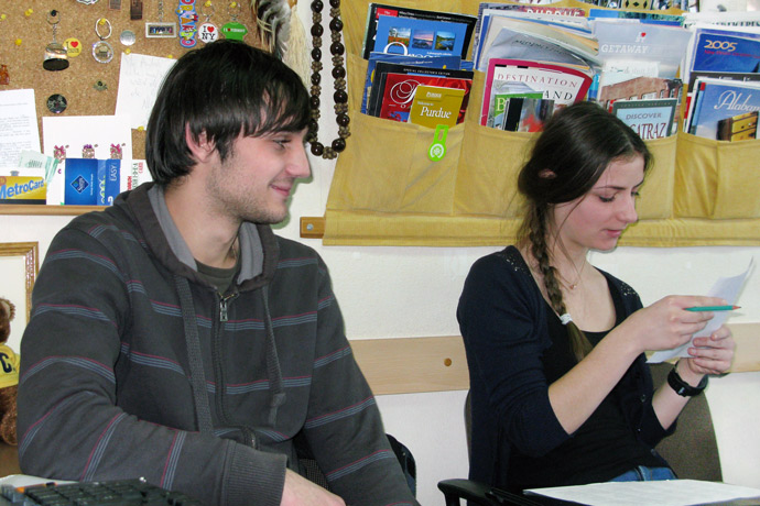 Debating (the Karl Popper debate format) at Terra Nova. From left to right: Tudor Haruţa and Laura-Victoria Nazaria. December 2012.