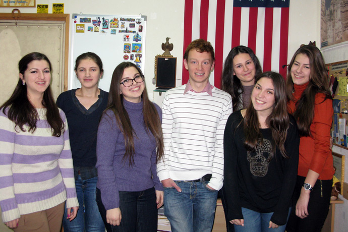 At Terra Nova. From left to right: Maria-Mirabela Mocănaş, Iulia Moroz, Ecaterina Maximenco, Maxim Grama, Nadejda Sapunov, Anastasia Avram, and Anastasia Donica. TOEFL Preparation / Section 1 (M.W.F. Afternoon Group). December 2012.