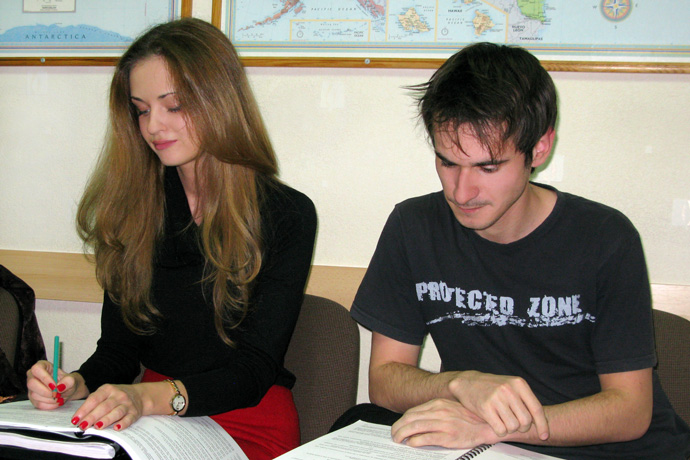 At Terra Nova. From left to right: Ecaterina Iabanji and Victor Apîhtin. TOEFL Preparation / Section 2 (M.W.F. Evening Group). December 2012.