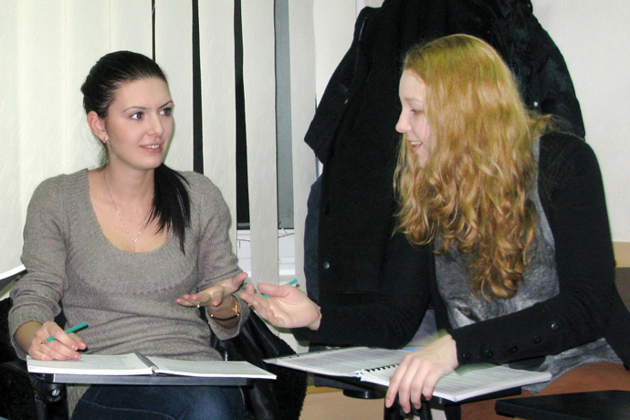At Terra Nova. From left to right: Maria Savina and Natalia Dementieva. TOEFL Preparation / Section 2 (M.W.F. Evening Group). December 2012.