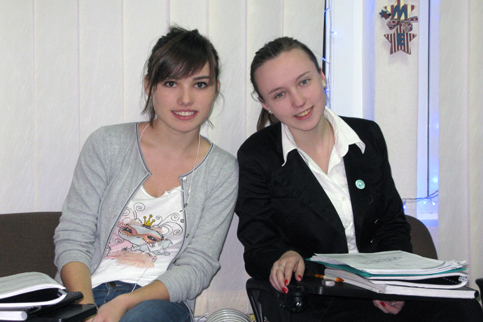 At Terra Nova. From left to right: Irina Soroca and Ana-Maria Tecuci. TOEFL Preparation / Section 3 (Tu.Th. Afternoon Group). December 2012.