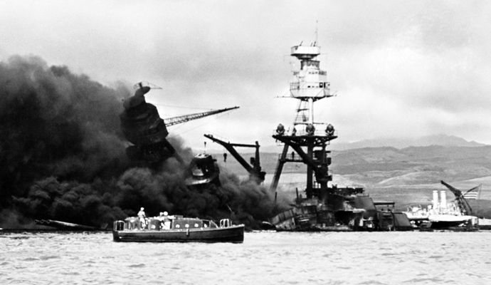 The blast that destroyed Arizona and sank her at her berth alongside of Ford Island on December 7, 1941 took a total of 1,177 lives of the 1,400 crewmen on board at the time - over half of the casualties suffered by the entire fleet in the attack.