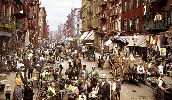 Mulberry Street, along which Manhattan's Little Italy is centered. Lower East Side, NYC, circa 1900. Immigration helped spur the American economy.