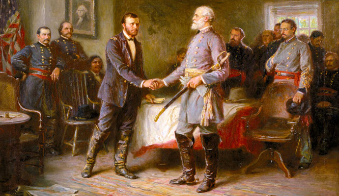 The oil on canvas painting, Let Us Have Peace, 1865, by Jean Leon Gerome Ferris (1863-1930) was completed around 1920 and illustrates the surrender of Robert E. Lee to Ulysses S. Grant, thus ending the Civil War.