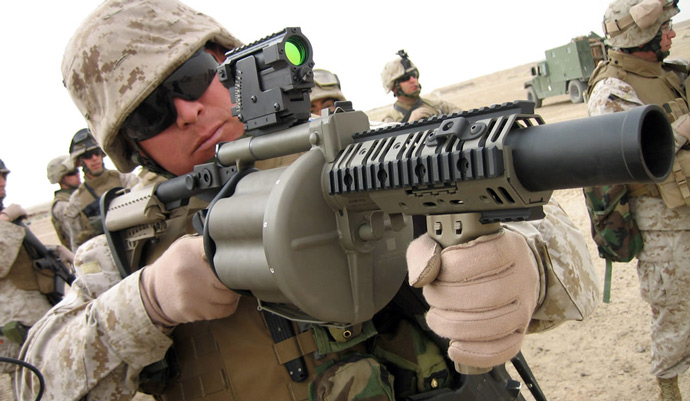 While high-tech weapons items get a lot of billing, the Global War on Terror is very much an infantry war. Firepower overmatch matters in those situations. The M-32 six-shot 40mm grenade launcher is the US Marine Corps' weapon introduced in 2003 to Regimental Combat Team 5, based in Camp Fallujah.