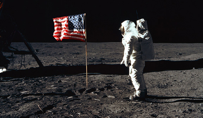 U.S. astronaut Buzz Aldrin on the moon, 1969. Apollo 11 was the first manned mission to land on the Moon. It was the fifth human spaceflight of the Apollo program, and the third human voyage to the moon. Launched on July 16, 1969, it carried Commander Neil Armstrong, Command Module Pilot Michael Collins and Lunar Module Pilot Edwin 'Buzz' Aldrin. On July 20, Armstrong and Aldrin became the first humans to set foot on the Moon, while Collins orbited above.