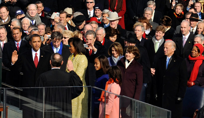 Barack Hussein Obama takes the oath of office from U.S. Chief Justice John G. Roberts Jr. in Washington, D.C., Jan. 20, 2009, becoming the 44th President of the United States.