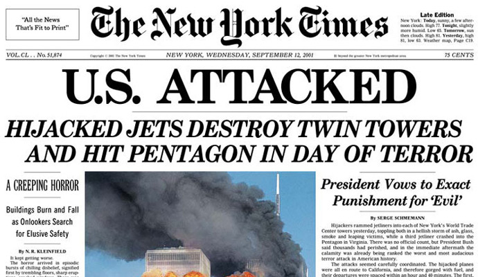 The New York Times front page for 9/11.