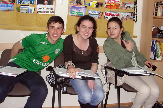 At Terra Nova. From left to right: Cristian Petrimari, Evghenia Necliudova, Ana-Maria Şolpan. TOEFL Preparation / Section 3 (M.W.F. Evening Group). May 2010.