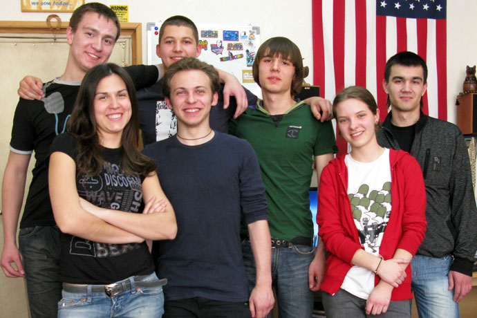At Terra Nova. From left to right: Adrian Beleniuc, Antonina Gureţkaia, Adrian Arseni, Victor Susan, Alexandru Belinschi, Natalia Alesencova, Igor Parniţchii. TOEFL Preparation / Section 2 (M.W.F. Afternoon Group). May 2010.