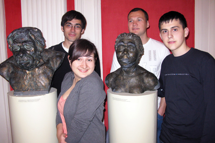At the National Museum of Archaelogy and History of Moldova. From left to right: Eugeniu Zavtur, Maria Damaschina, Anatolie Manoilă, Cristian Cartofeanu. May 2011.