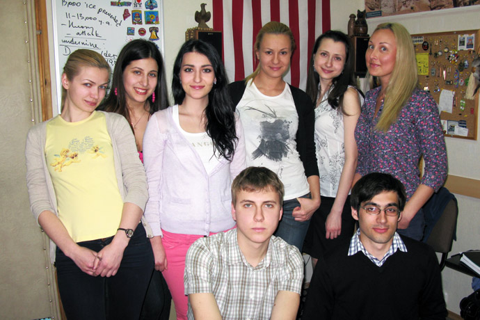 At Terra Nova. Upper row (from left to right): Natalia Caraman, Inna Ravliuc, Corina Tricolici, Veronica Denuța, Daniela Ghemu, Olga Adam. Lower row (from left to right): Grigori Burlea and Eugeniu Zavtur. TOEFL Preparation / Section 4 (Tu.Th. Evening Group). May 2011.