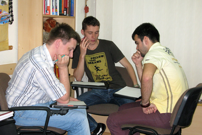 Debating (the Karl Popper debate format) at Terra Nova. From left to right: Nicolae Panfil, Ivan Novicov, Artiom Iacunin. TOEFL Preparation / Section 2 (M.W.F. Evening Group). May 2012.