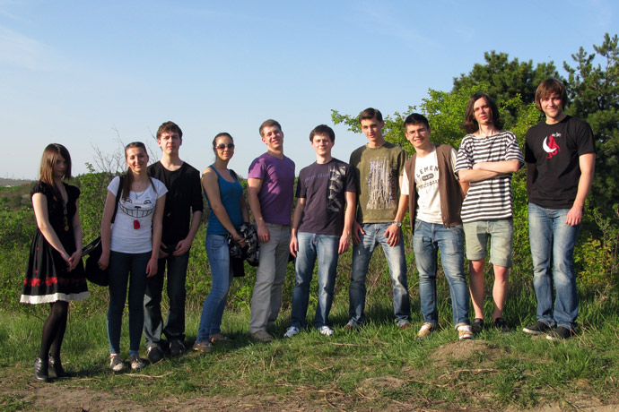 In Ciocana Park. From left to right: Ana Fudulachi, Domnica Luca, Vladislav Vaşcişin, Zinaida Postica, Maxim Sergheev, Alexandr Patraşco, Dionis Grajdan, Eugeniu Lefter, Alexandru Dungher, Vasile Dilion. TOEFL Preparation / Section 1 (M.W.F. Afternoon Group). April 2012.