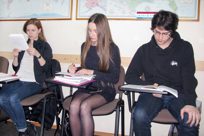 At Terra Nova. TOEFL simulation. From left to right: Laura Degteariova, Tatiana Grușetschi, and Dumitru Melniciuc. TOEFL Preparation / Section 2 (M.W.F. Evening Group). April 2016.