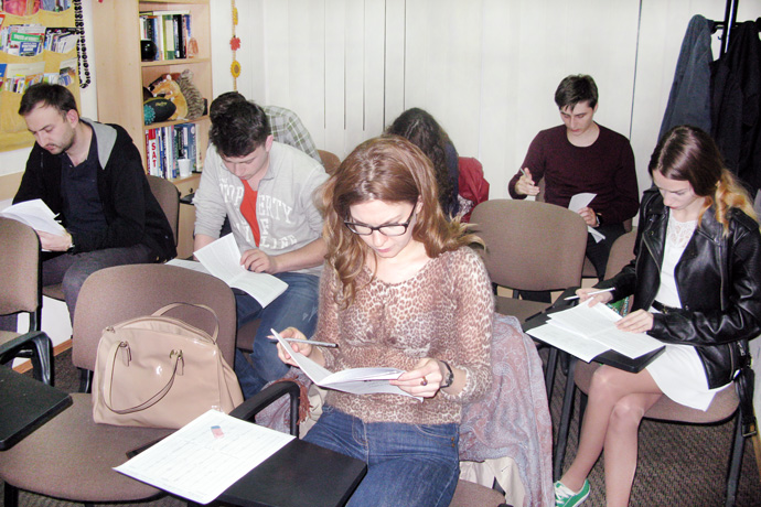 At Terra Nova. TOEFL simulation. From left to right: Denis Parea, Alexandru Musteață, Maxim Fucedji, Laura Degteariova, Cristina Chiosa, Eugeniu Pascal, and Ecaterina Bodiu. TOEFL Preparation / Section 2 (M.W.F. Evening Group). May 2016.