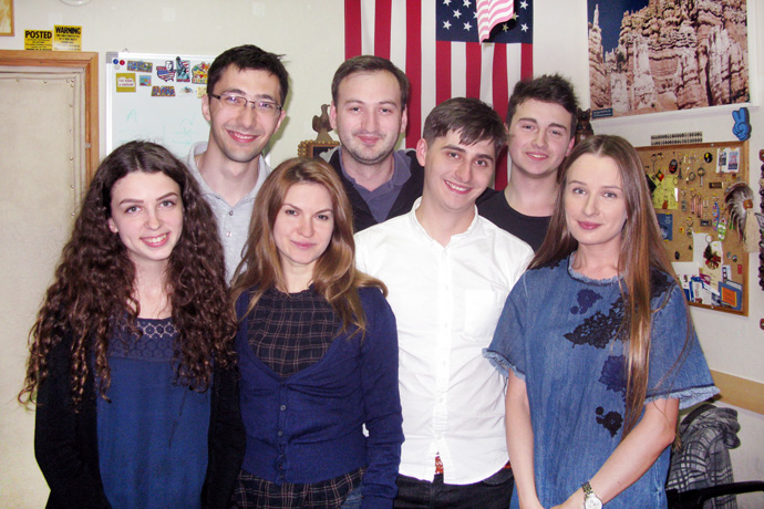 At Terra Nova. From left to right: Cristina Chiosa, Maxim Fucedji, Laura Degteariova, Denis Parea, Eugeniu Pascal, Alexandru Musteață, and Tatiana Grușetschi. TOEFL Preparation / Section 2 (M.W.F. Evening Group). May 2016.