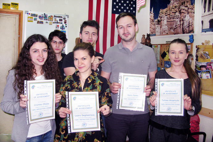Commencement at Terra Nova. From left to right: Cristina Chiosa, Dumitru Melniciuc, Laura Degteariova, Alexandru Musteață, Denis Parea, and Tatiana Grușetschi. TOEFL Preparation / Section 2 (M.W.F. Evening Group). May 2016.