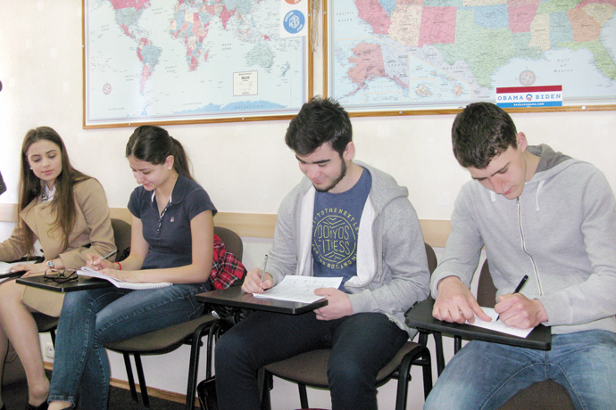At Terra Nova. From left to right: Ecaterina Jorovlea, Cristina Bocșanean, Eugeniu Dimitriu, and Vitalie Roibu. TOEFL Preparation / Section 7 (Sat.Sun. Morning Group). April 2016.