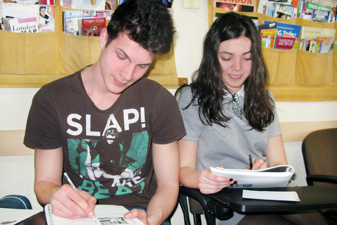 At Terra Nova. From left to right: Nicolae Nour and Andriana Draganel. TOEFL Preparation / Section 7 (Sat.Sun. Morning Group). May 2016.