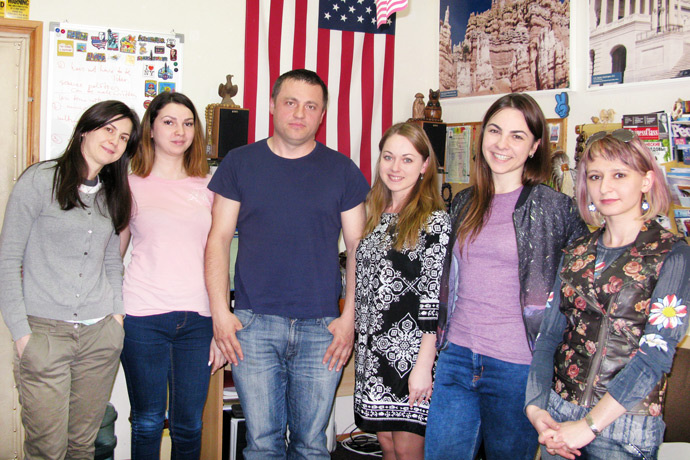 At Terra Nova. From left to right: Stela Cudalb, Elena Popil, Artur Sosin, Natalia Murafa, Olga Vilcova, and Victoria Negara. TOEFL Preparation / Section 8 (Sat.Sun. Afternoon Group). April 2016.